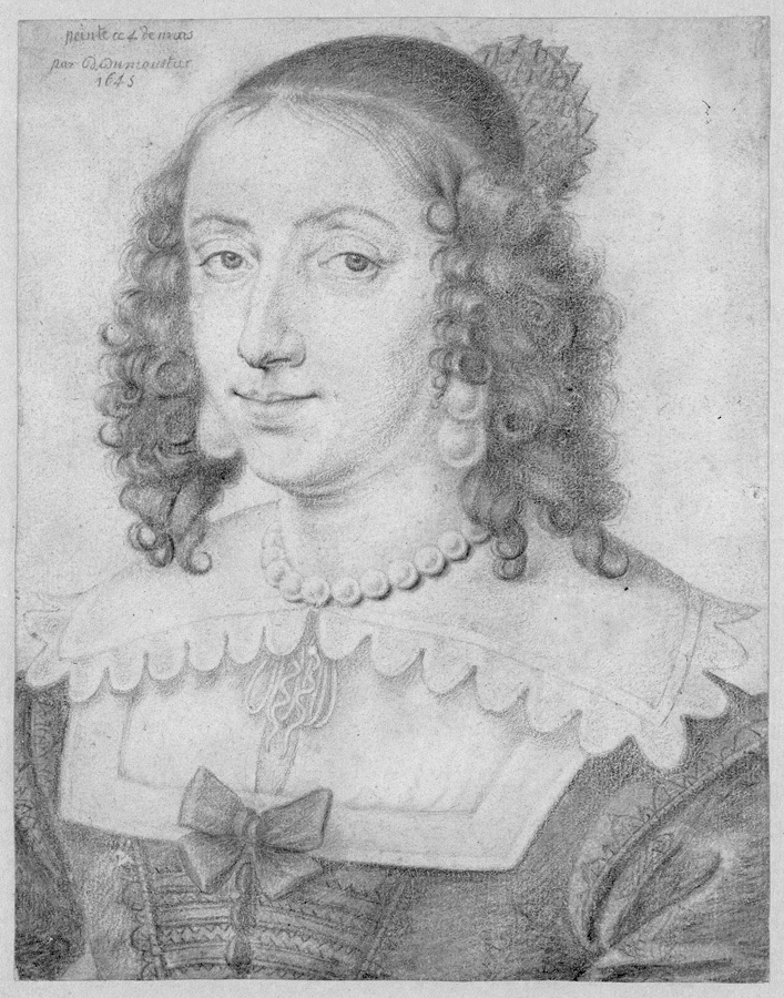 Henrietta Maria of Bourbon in pencil by ? (location unknown to gogm) From the lost gallery detint inc contrast