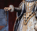ca. 1615 Young Henrietta Maria by Pourbus the younger (location unknown to gogm) hanging and false sleeves, cuff, and tabbed bodice