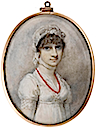 Hon. Mrs Caroline Elwes (née Pelham), wearing white dress, fill-in, coral necklace and coral pendent earrings, black bandeau, white lace veil tied around her neck by Richard Cosway (Bonham's)