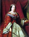 Isabel II wearing a red court dress