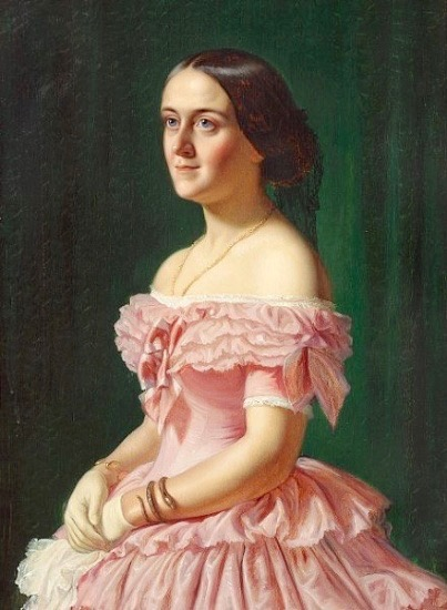 Jeanina, Baroness Stampe (1833-1867) by Wilhelm Marstrand (location ?) From theebonswan.blogspot.com:2015:12:portrait-of-jeanina-baroness-stampe.html shadows fixed