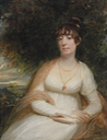 Josephine Sophia Newton, Lady Cooper, three-quarter-length, seated, in a white gown, with a shawl and pendant brooch, a landscape beyond by Sir William Beechey (auctioned by Christie's)