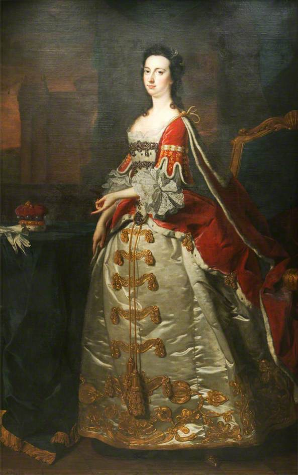 Judith Lamb (1726–1797), Lady Wentworth by Thomas Hudson (Leicestershire County Council Museums Service) From bbc.co via pinterest.com/Hattie995/1740s-female-clothing/.jpg