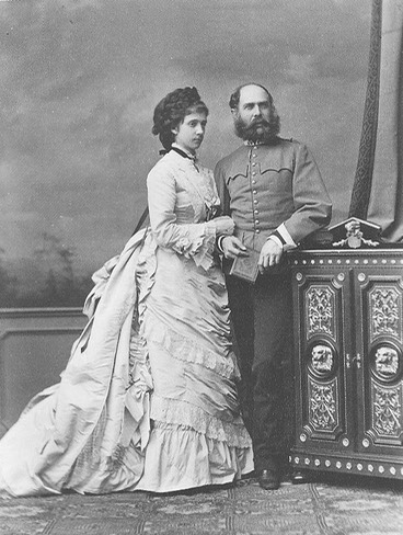 ca. 1873 Karl Ludwig and Archduchess Maria Theresa, Prince and Princess Imperial of Austria married 23 July 1873 From pinterest.com:titanicfaces:monarchy-austria: detint