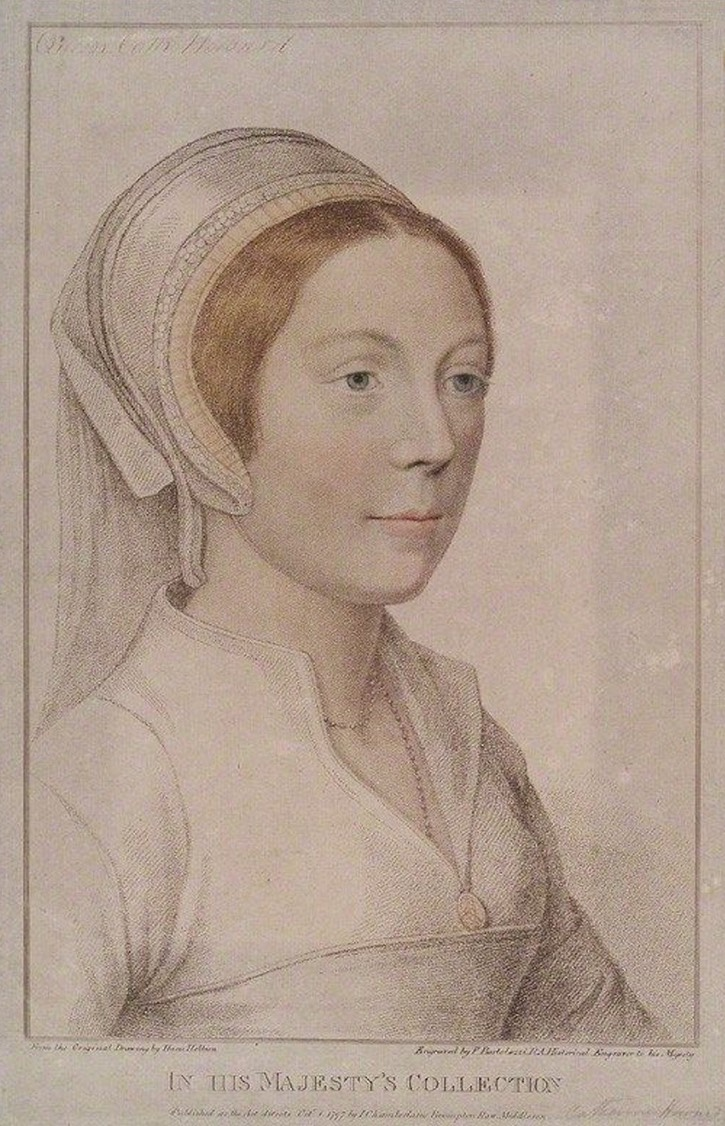Kathryn Howard by or after Hans Holbein the Younger (location ?) From pinterest.com/agentkoc/history/ X 2 removed a few background spots