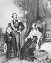 ca. 1848 (estimated) King Willem lll, queen Sophie and Crown Prince Willem