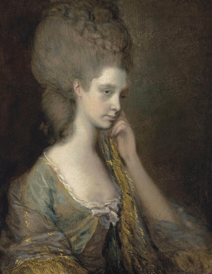 Lady Anne Thistlethwaite, Countess of Chesterfield (1759-1798), bust-length, in a blue dress by Thomas Gainsborough (auctioned by Christie's) size fixed