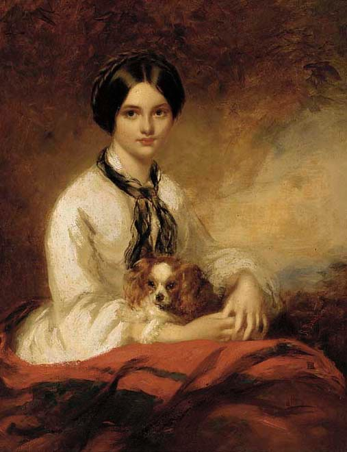 Lady Aubrey-Fletcher, neé Agnes Wilson, seated half-length, in a white blouse, with a spaniel in her arms by Richard Buckner (auctioned by Christie's)