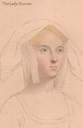 Lady Borough (Agnes Tyrwhitt also called Katherine Parr) portrait drawing after Hans Holbein (location unknown to gogm)