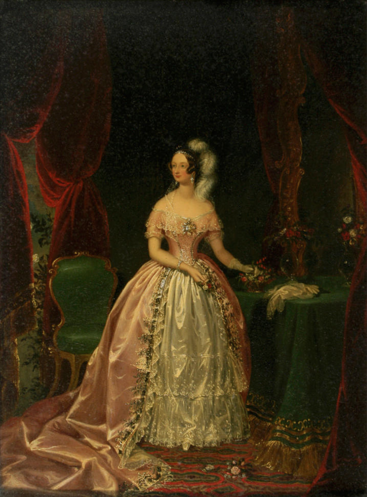 Lady Cecilia des Voeux, née Paulet in court dress by Henrietta G. Gubbins (auctioned by Bonhams) From Bonhams Web site Removed more conspicuous spots
