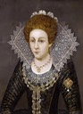 Lady in a lace collar by follower of Robert Peake the Elder (auctioned by Bonhams) Wm fixed