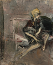 Lady in a yellow hat, Marchesa Luisa Casati, with her dog by Giovanni Boldini (auctioned by Sotheby's) From Sotheby's Web site