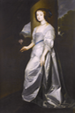 Lady Mary Villiers, full-length, in a white silk dress standing before an open curtain, holding a rose after Sir Anthonis van Dyck (auctioned by Bonhams)