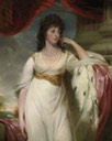 Lady, probably Hyacinthe, Marchioness of Wellesley, three-quarter-length, in a white dress with an ermine-lined cloak, by a column by John Hoppner (auctioned by Bonhams)