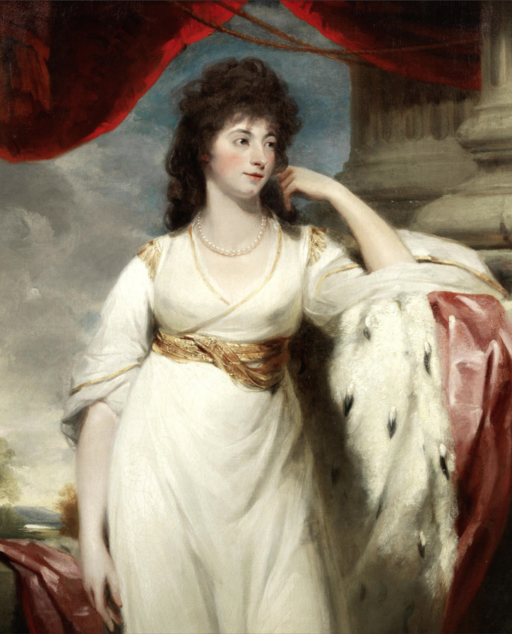 Lady, probably Hyacinthe, Marchioness of Wellesley, three-quarter-length, in a white dress with an ermine-lined cloak, by a column by John Hoppner (auctioned by Bonhams) UPGRADE size fixed at 75 cm high at 28.35 pixels:cm