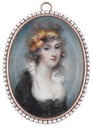 Lady Susan Carbery (c.1770-1828), wearing black dress, white chemise, a yellow bandeau in her powdered hair by Mrs. Anne Mee