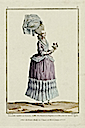 Lady dressed in Caraco, wearing a cap in Pouponne and mesh, decorated with tiger edgings designed by Claude-Louis Desrais, French, 1746–1816 and engraved by Nicolas Dupin