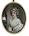 Lady Hester Cholmondeley, née Bellingham (1763-1844), wearing white dress, fichu and shawl with frilled trim, her powdered hair dressed with a white bandeau by Henry Edridge