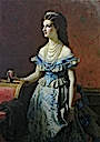 Margherita wearing a blue late crinoline era dress by ? (location unknown to gogm)