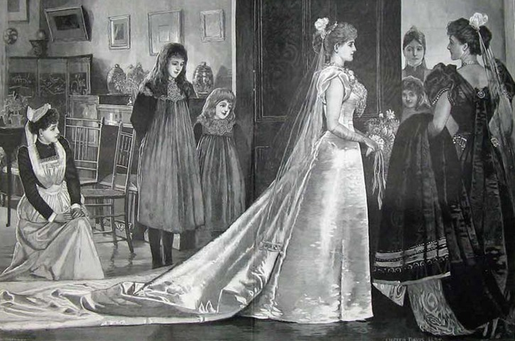 Late Victorian debutante with required 10 foot train From www.katetattersall.com:?p=3025