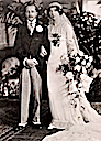 Linda Beatrice Morritt, wearing the Lucile dress, and the groom, William Barnard Rhodes Moorhouse