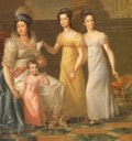 1813-1814 Maria Teresa seated, Little Maria Cristina (Queen of Naples), Maria Theresa (Duchess of Lucca) and Maria Anna (Empress of Austria) twins Maria Teresa and Marianna by Luigi Bernero (Castle of Racconigi - Racconigi, Cuneo Italy)