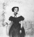 1854 Portrait of the new Empress of Austria in front of the castle of Possenhofen