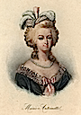 Marie Antoinette wearing a small feathered headdress print