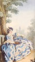 1763 Madame d'Egmont in her garden by Louis Carrogis Carmontelle (Musée Condé - Chantilly France)