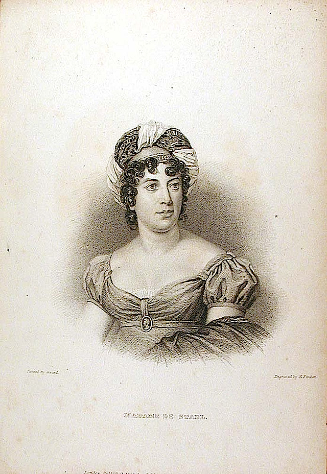 Madame de Stael by François Gérard engraved by Edward Finden in 1834 (Indianapolis Museum of Art)