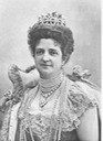 Enlargement of Queen Margherita's face and bodice from 1901 photos