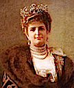 Margherita wearing fur-trimmed cape or coat