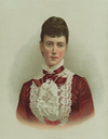 Maria Feodorovna wearing a lace-adorned dress color print