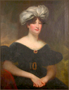 Maria Stella, Lady Newborough in a blue dress and white bonnet top by circle of William Beechey (auctioned by Bonhams)