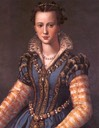 ca. 1571 Eleonora di Garzia di Toledo, often called Maria de Medicis, by Alessandro Allori (Kunsthistorisches Museum, Wien) bodice and face