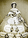 Maria Sophie wearing a very full crinoline court dress