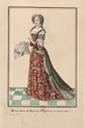 Marie Anne de Baviere en grand costume (i.e. in a robe de cour) ; elle tient un éventail ouvert by ? (Bibliothèque nationale de France) From Pinterest search