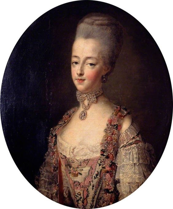 Marie Antoinette, Queen of France, in a court dress by François-Hubert Drouais (Victoria and Albert Museum - London, UK) From Pinterest search
