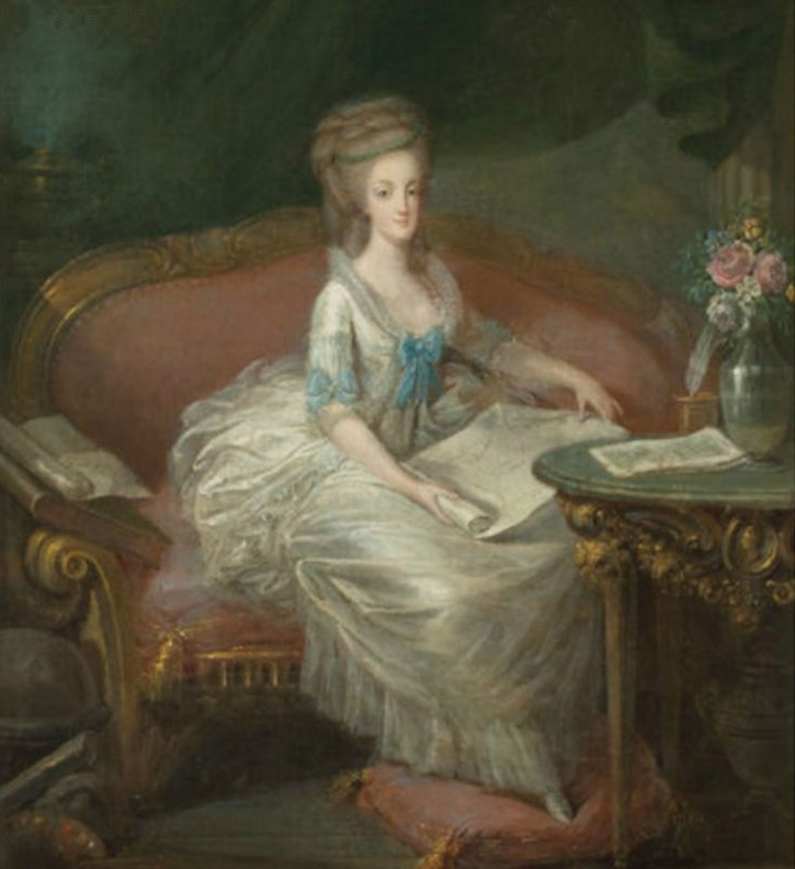 Marie Antoinette sitting on a sofa, attributed to Louis Charles Gauthier d'Agoty (auctioned by Christie's) UPGRADE? From pinterest.com:nataliafashions:marie-antoinette: deprint
