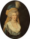 Marie Antoinette wearing bouffant coiffure and saffron veil by ? (location ?) From pinterest.com:source:vivelareine.tumblr.com