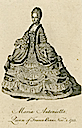Marie-Antoinette wearing court dress beneath a mantle