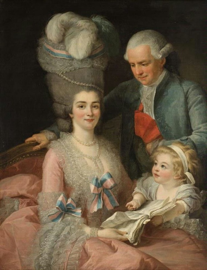 Marquis Bergeret de Prouville with his wife Mme Desroches Bournay by Vigée-Lebrun or Roslin (Helsingborg, Sweden - specific location unknown to gogm) From pinterest.com/ccantiqs/18th-century-fashion-history/ X 1.25