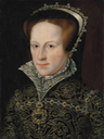 Mary I, Queen of England, bust-length, in jeweled French hood, gold-embroidered dress with pearls, diamonds and rubies, with a Medici collar and high neck, with jeweled choker and pendant by ? (auctioned by Christie's) fixed fold line & spots