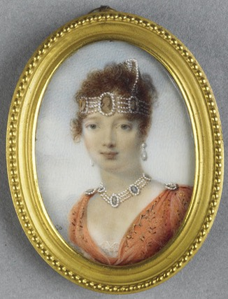 Miniature of Caroline Bonaparte by ? (location ?) From royaland.tumblr.com:post:66964770108:jeannepompadour-caroline-bonaparte1808-14