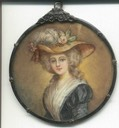 Miniature of Marie Antoinette wearing a straw hat