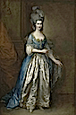 Mrs. William Villebois, full-length, in masquerade dress, with a blue gown and a lace-edged satin skirt, holding a diaphanous wrap by Sir Thomas Gainsborough (auctioned by Christie's)