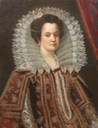 Noble Lady, possibly Margherita di Cosimo II de' Medici ~ half-length ~ in embroidered costume with a white lace collar and a pearl necklace by Justus Sustermans (auctioned by Bonhams) Bonhams