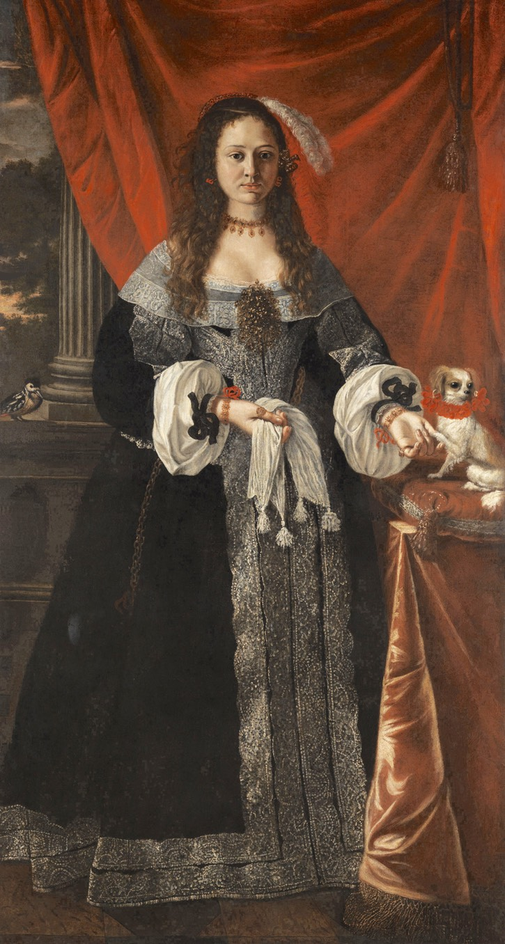 Noblewoman and small dog by circle of Pier Francesco Cittadini (auctioned by Hampel Auctions) Wm