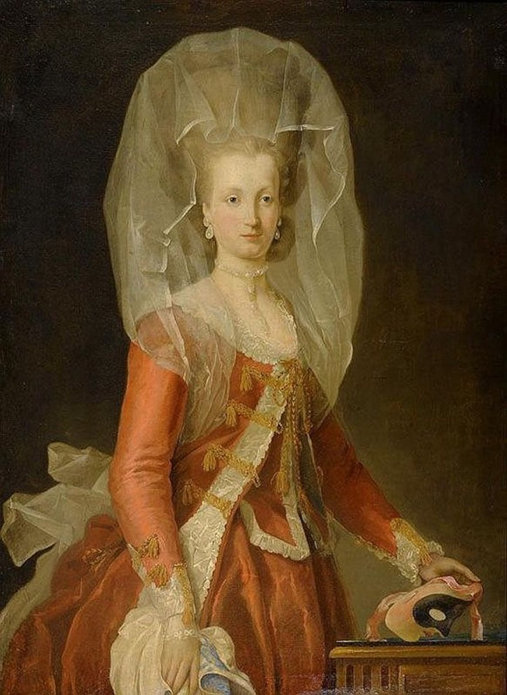 Noblewoman with mask, fourth quarter 18th century, attributed to Charles Amédée Philippe van Loo (location ?) From pinterest.com:napalkova:18-век: X 1.5