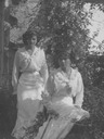 Possibly Olga and possibly Tatiana wearing warm weather dresses (Romanov Collection, General Collection, Beinecke Rare Book and Manuscript Library, Yale University - New Haven, Connecticut USA)
